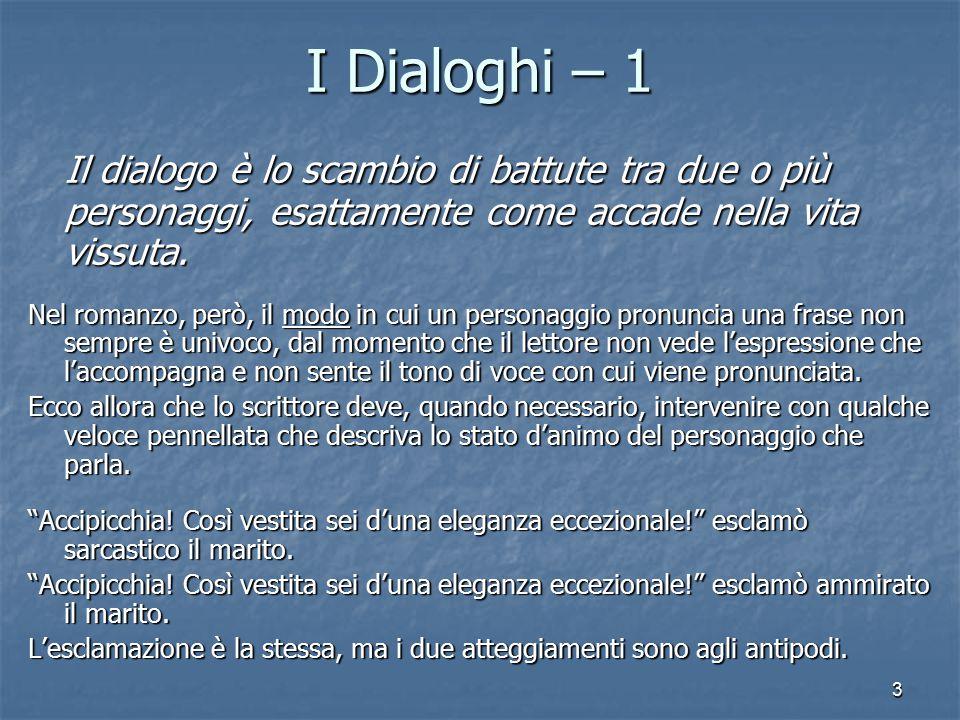 3 I Dialoghi – 1 Il dialogo è lo scambio di battute tra due o più personaggi, esattamente come accade nella vita vissuta.
