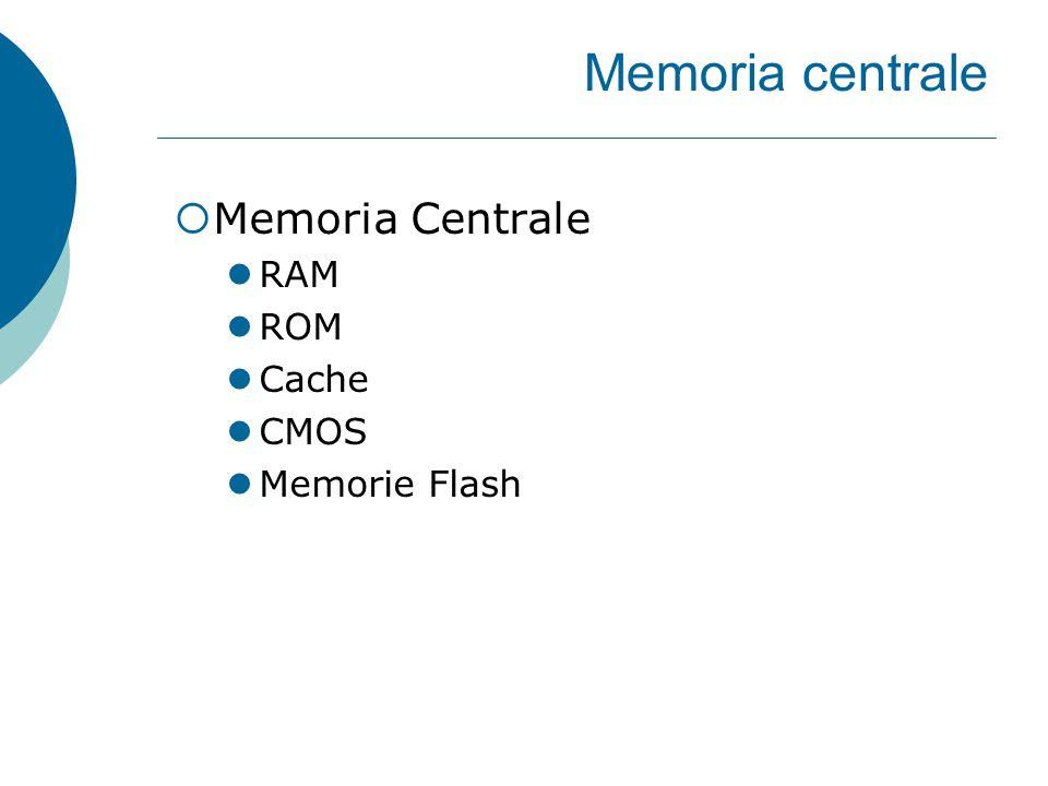 Memoria centrale  Memoria Centrale RAM ROM Cache CMOS Memorie Flash