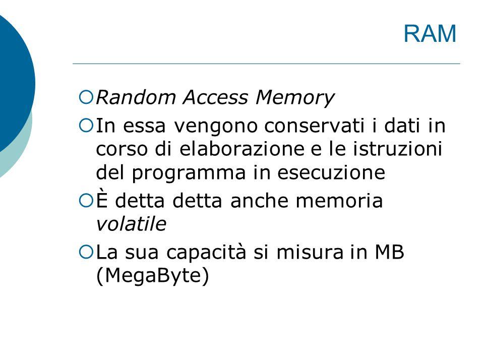 RAM  Random Access Memory  In essa vengono conservati i dati in corso di elaborazione e le istruzioni del programma in esecuzione  È detta detta anche memoria volatile  La sua capacità si misura in MB (MegaByte)