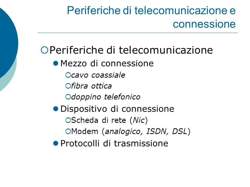 Periferiche di telecomunicazione e connessione  Periferiche di telecomunicazione Mezzo di connessione  cavo coassiale  fibra ottica  doppino telefonico Dispositivo di connessione  Scheda di rete (Nic)  Modem (analogico, ISDN, DSL) Protocolli di trasmissione