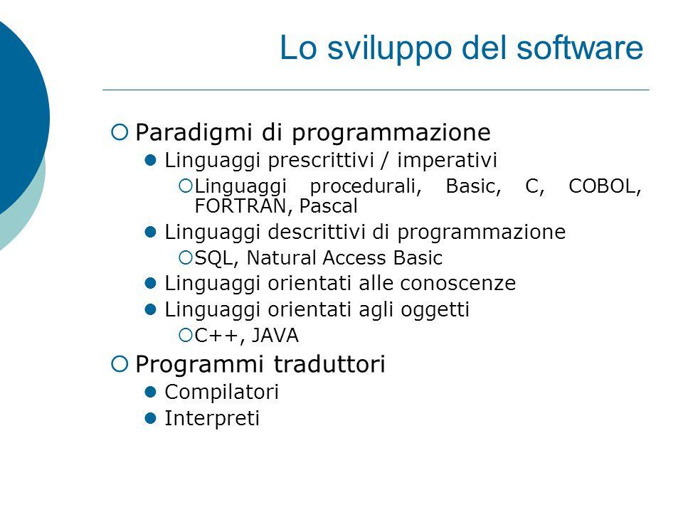 Lo sviluppo del software  Paradigmi di programmazione Linguaggi prescrittivi / imperativi  Linguaggi procedurali, Basic, C, COBOL, FORTRAN, Pascal Linguaggi descrittivi di programmazione  SQL, Natural Access Basic Linguaggi orientati alle conoscenze Linguaggi orientati agli oggetti  C++, JAVA  Programmi traduttori Compilatori Interpreti