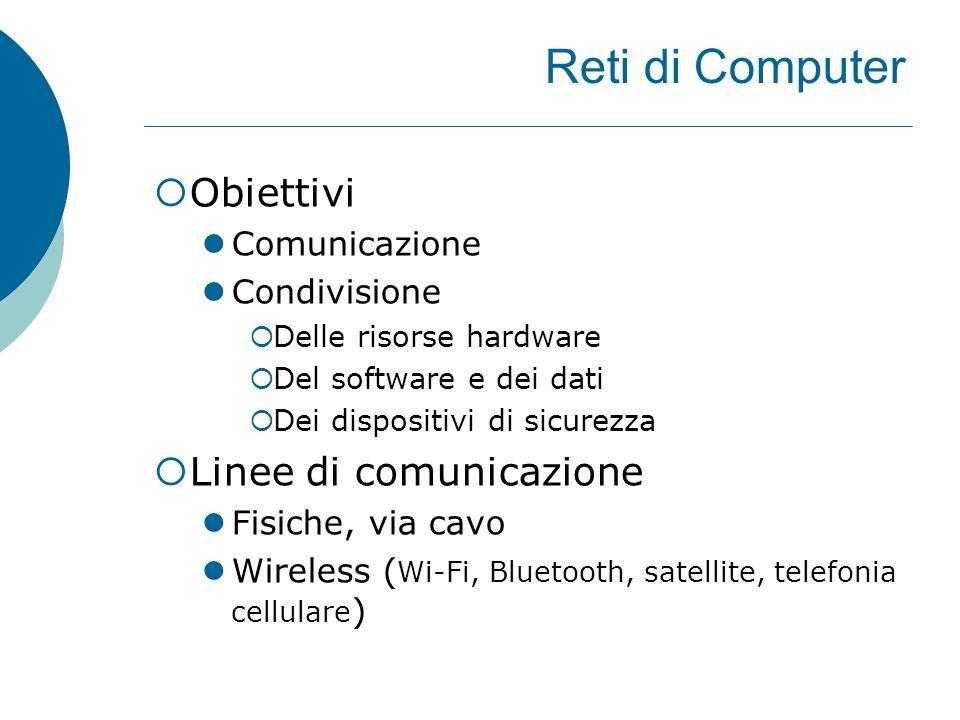 Reti di Computer  Obiettivi Comunicazione Condivisione  Delle risorse hardware  Del software e dei dati  Dei dispositivi di sicurezza  Linee di comunicazione Fisiche, via cavo Wireless ( Wi-Fi, Bluetooth, satellite, telefonia cellulare )