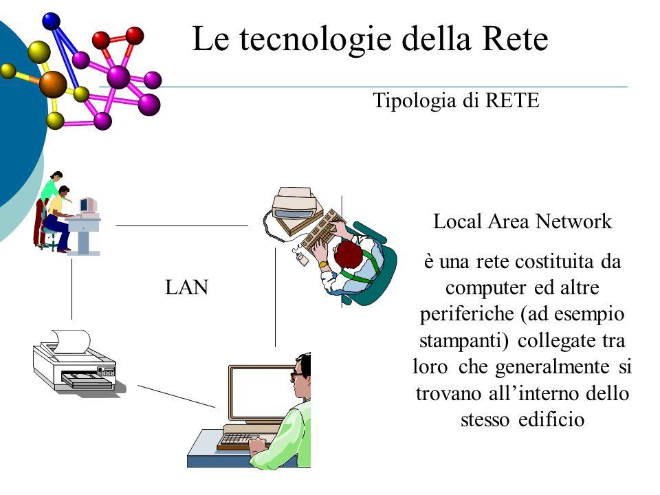 Tipologia di RETE LAN Local Area Network è una rete costituita da computer ed altre periferiche (ad esempio stampanti) collegate tra loro che generalmente si trovano all'interno dello stesso edificio Le tecnologie della Rete