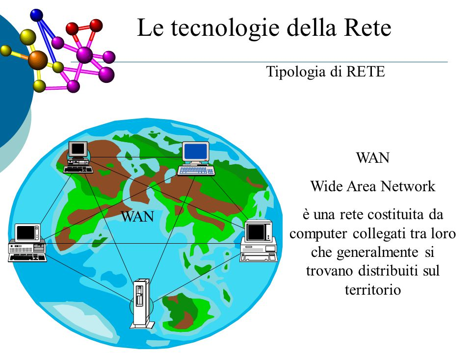 Tipologia di RETE WAN Wide Area Network è una rete costituita da computer collegati tra loro che generalmente si trovano distribuiti sul territorio A B C D E Le tecnologie della Rete