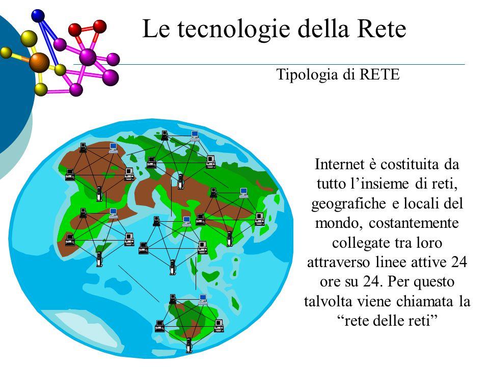 Tipologia di RETE Internet è costituita da tutto l'insieme di reti, geografiche e locali del mondo, costantemente collegate tra loro attraverso linee attive 24 ore su 24.