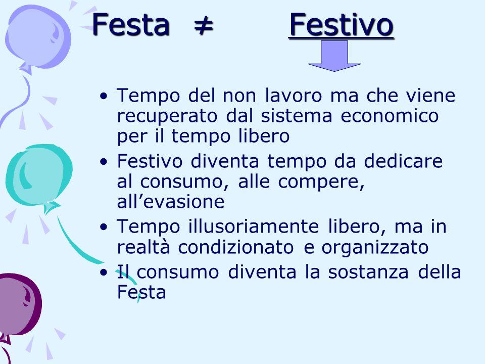 Festa ≠ Festivo Festa ≠ Festivo Tempo del non lavoro ma che viene recuperato dal sistema economico per il tempo libero Festivo diventa tempo da dedica