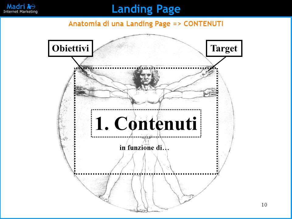 10 Landing Page Anatomia di una Landing Page => CONTENUTI 1. Contenuti in funzione di… ObiettiviTarget