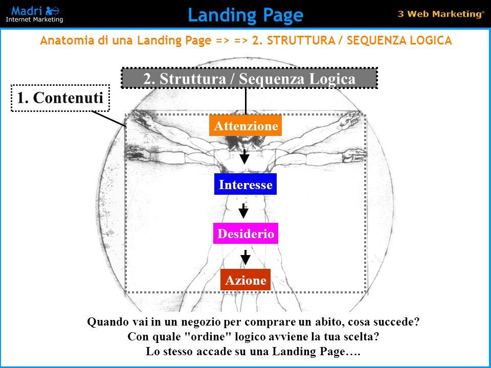 22 Landing Page Anatomia di una Landing Page => => 2. STRUTTURA / SEQUENZA LOGICA Attenzione Interesse Desiderio Azione 1. Contenuti 2. Struttura / Se