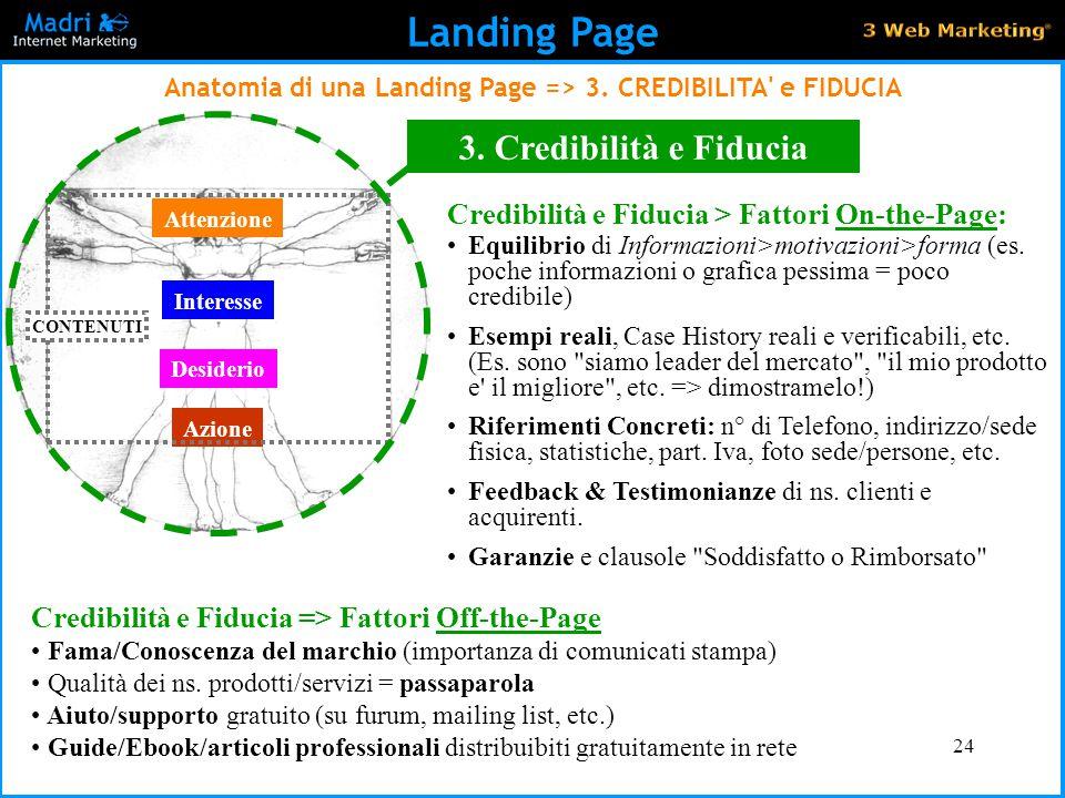 24 Landing Page Anatomia di una Landing Page => 3. CREDIBILITA' e FIDUCIA Attenzione Interesse Desiderio Azione CONTENUTI 3. Credibilità e Fiducia Il