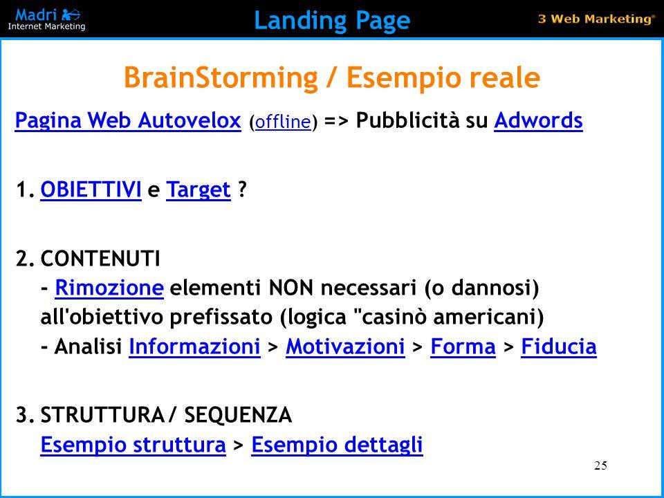 25 Landing Page BrainStorming / Esempio reale Pagina Web AutoveloxPagina Web Autovelox (offline) => Pubblicità su AdwordsofflineAdwords 1.OBIETTIVI e