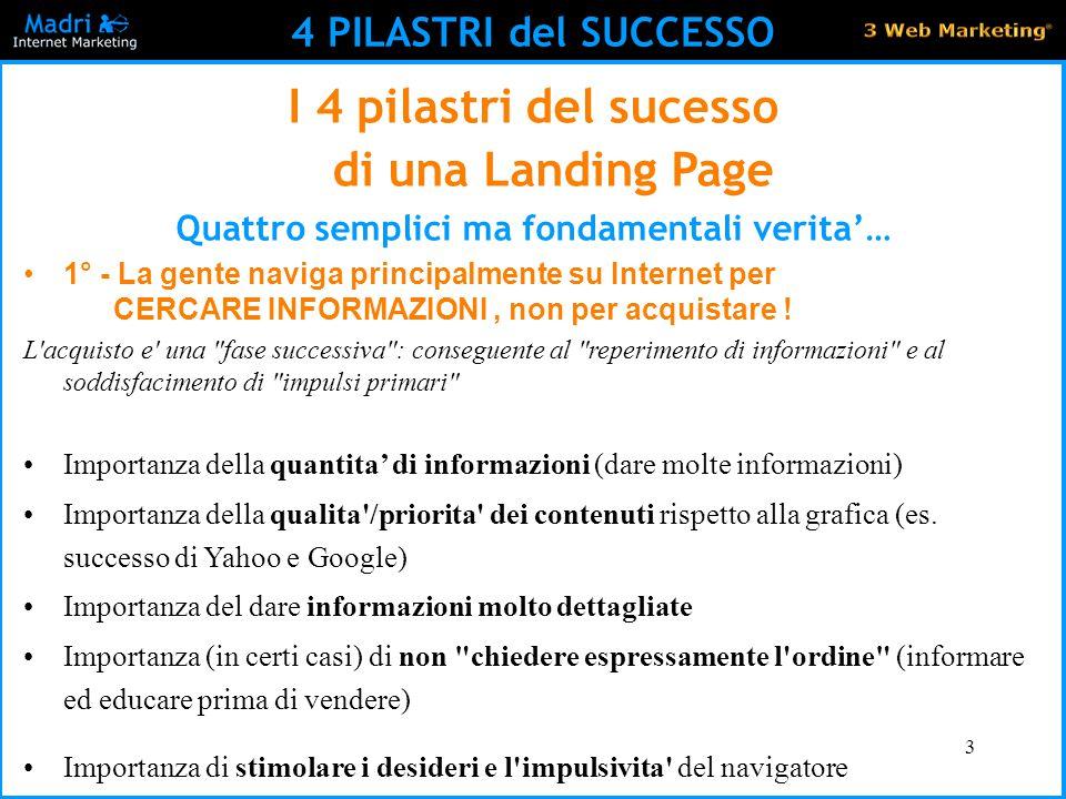 3 4 PILASTRI del SUCCESSO I 4 pilastri del sucesso di una Landing Page Quattro semplici ma fondamentali verita'… 1° - La gente naviga principalmente s