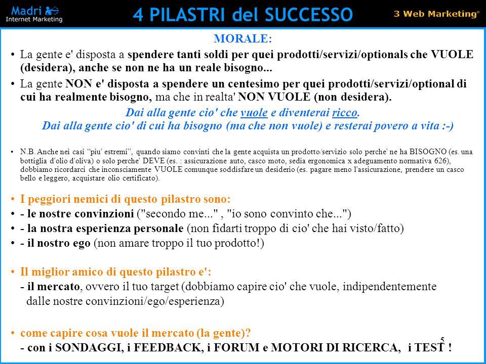 5 4 PILASTRI del SUCCESSO MORALE: La gente e' disposta a spendere tanti soldi per quei prodotti/servizi/optionals che VUOLE (desidera), anche se non n