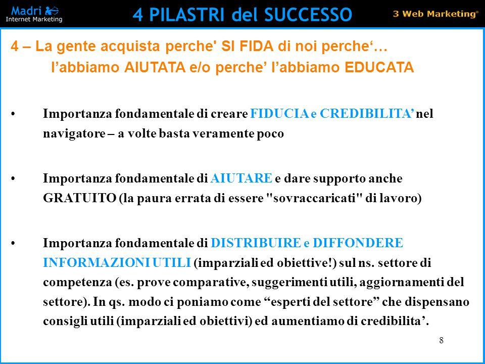 8 4 PILASTRI del SUCCESSO 4 – La gente acquista perche' SI FIDA di noi perche'… l'abbiamo AIUTATA e/o perche' l'abbiamo EDUCATA Importanza fondamental