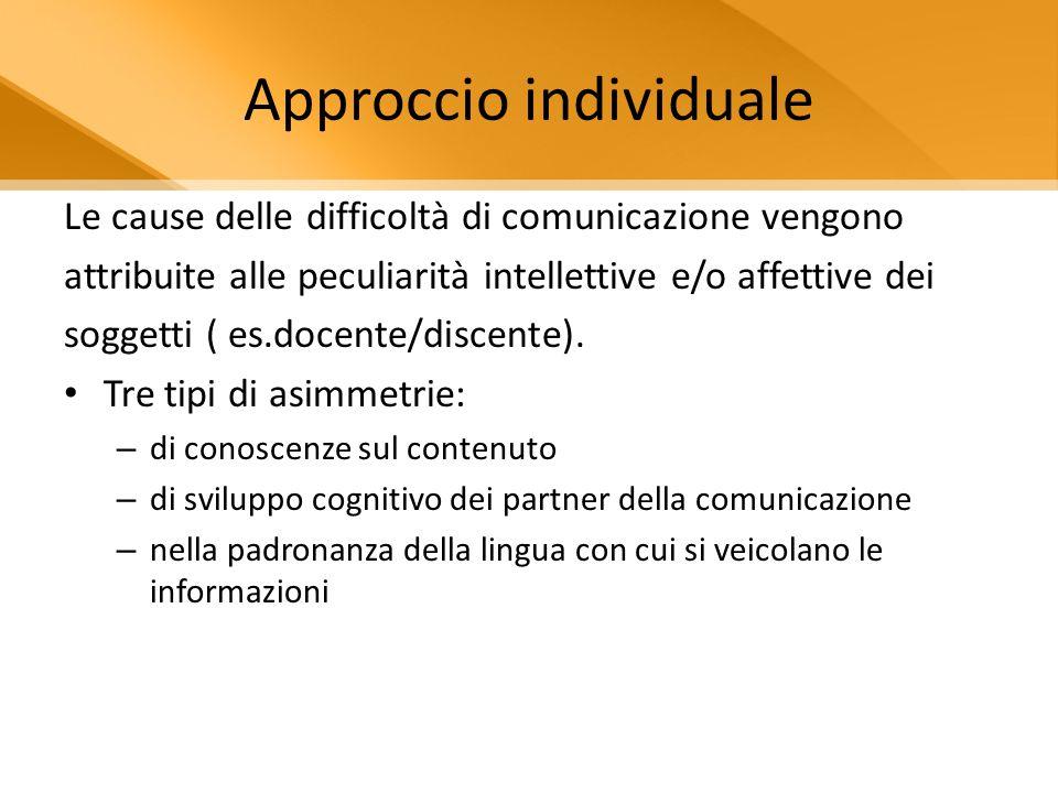Approccio individuale Le cause delle difficoltà di comunicazione vengono attribuite alle peculiarità intellettive e/o affettive dei soggetti ( es.docente/discente).
