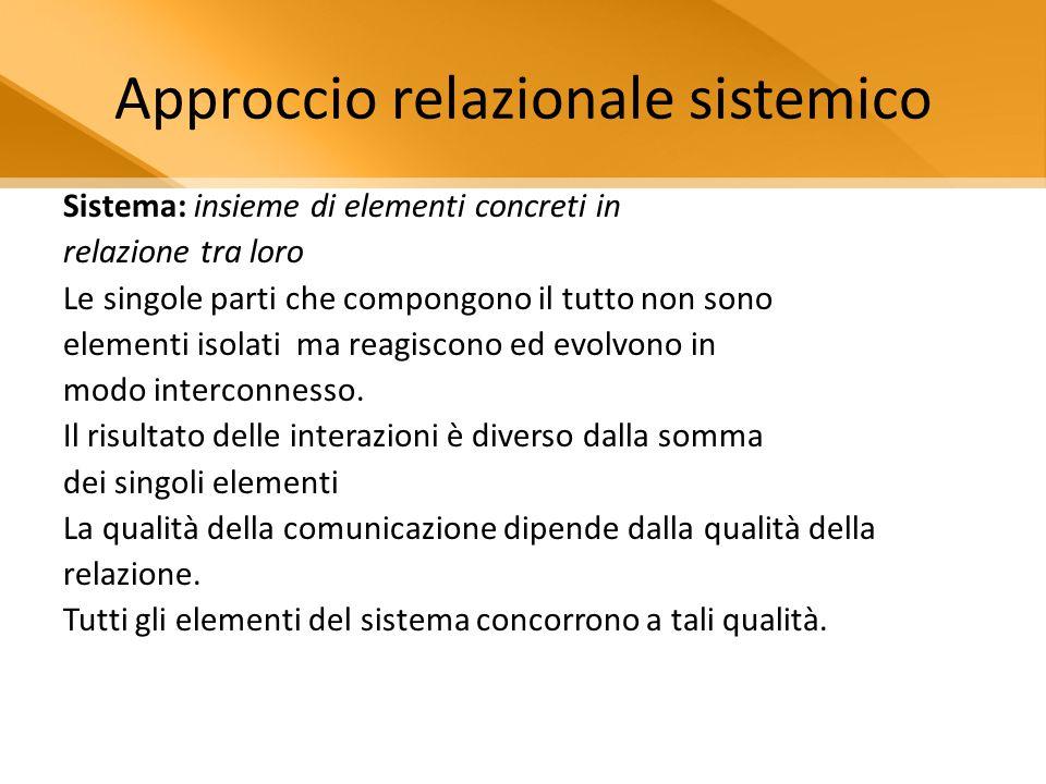 Approccio relazionale sistemico Sistema: insieme di elementi concreti in relazione tra loro Le singole parti che compongono il tutto non sono elementi isolati ma reagiscono ed evolvono in modo interconnesso.