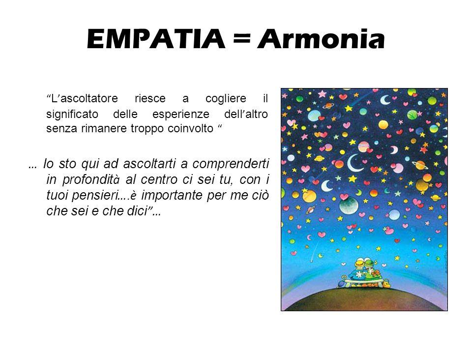 EMPATIA = Armonia L ' ascoltatore riesce a cogliere il significato delle esperienze dell ' altro senza rimanere troppo coinvolto … Io sto qui ad ascoltarti a comprenderti in profondit à al centro ci sei tu, con i tuoi pensieri ….