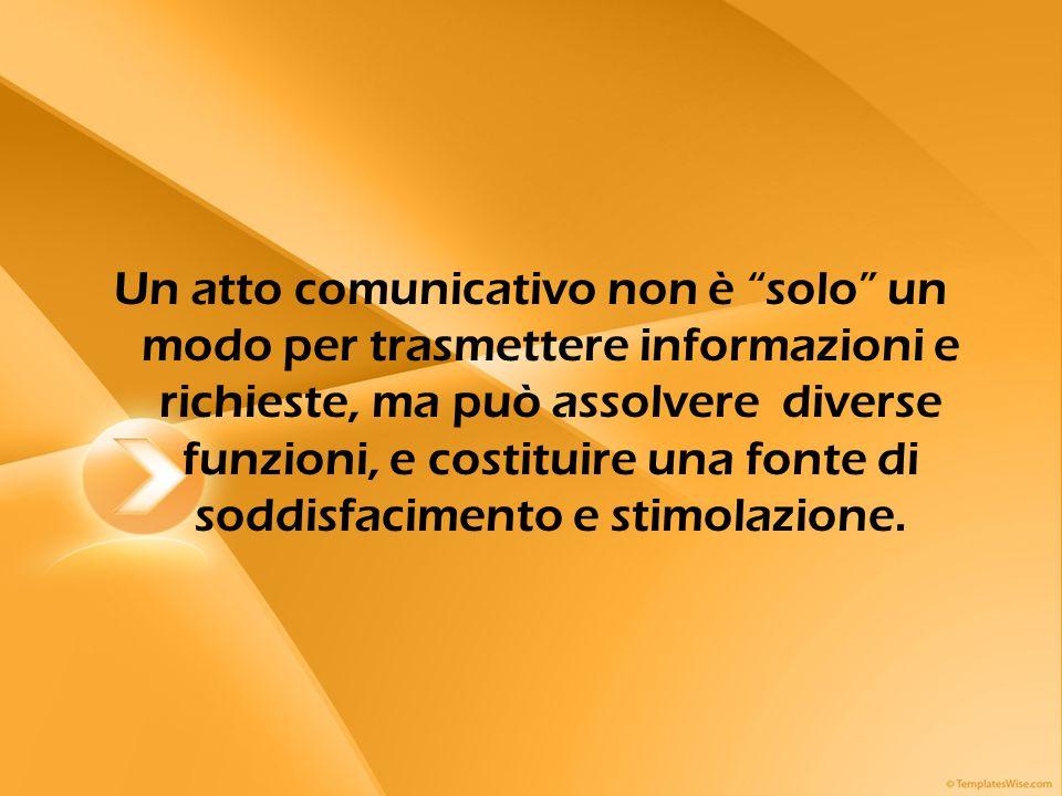 """Un atto comunicativo non è """"solo"""" un modo per trasmettere informazioni e richieste, ma può assolvere diverse funzioni, e costituire una fonte di soddi"""
