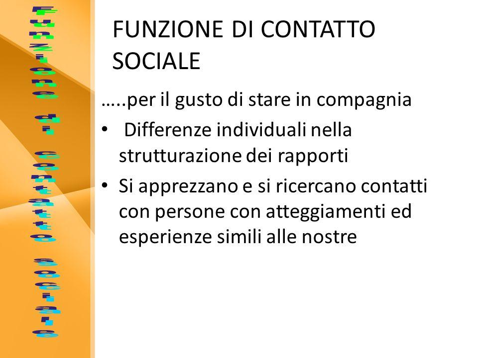 FUNZIONE DI CONTATTO SOCIALE …..per il gusto di stare in compagnia Differenze individuali nella strutturazione dei rapporti Si apprezzano e si ricerca