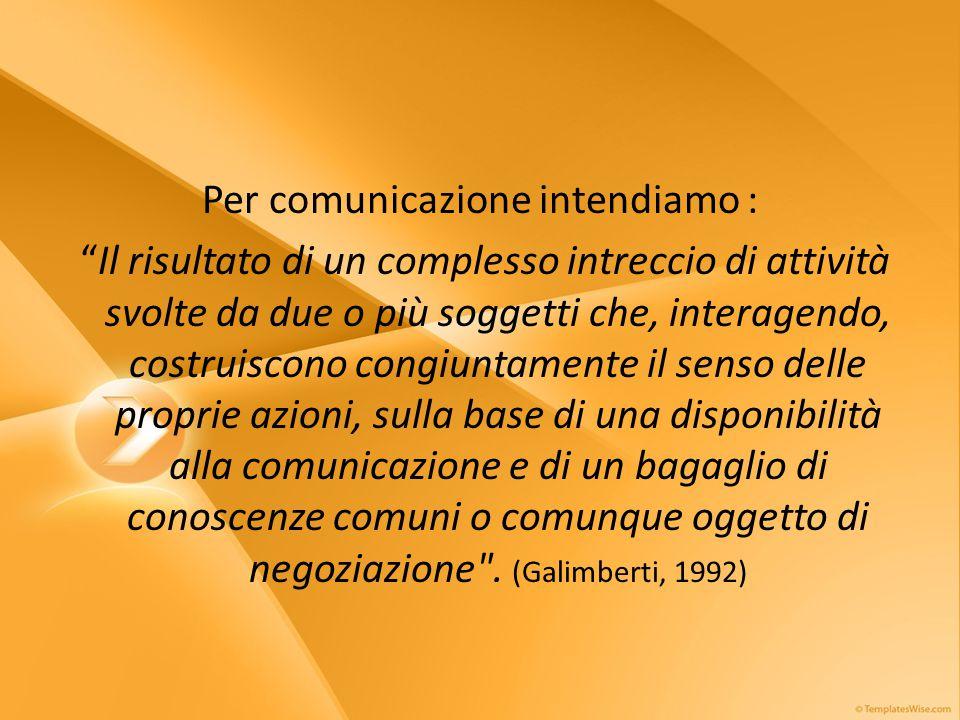 Per comunicazione intendiamo : Il risultato di un complesso intreccio di attività svolte da due o più soggetti che, interagendo, costruiscono congiuntamente il senso delle proprie azioni, sulla base di una disponibilità alla comunicazione e di un bagaglio di conoscenze comuni o comunque oggetto di negoziazione .