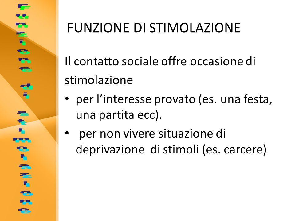 FUNZIONE DI STIMOLAZIONE Il contatto sociale offre occasione di stimolazione per l'interesse provato (es.