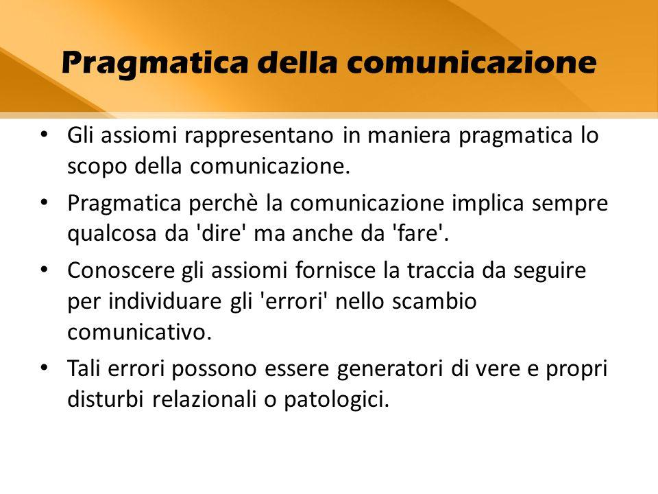 Pragmatica della comunicazione Gli assiomi rappresentano in maniera pragmatica lo scopo della comunicazione. Pragmatica perchè la comunicazione implic