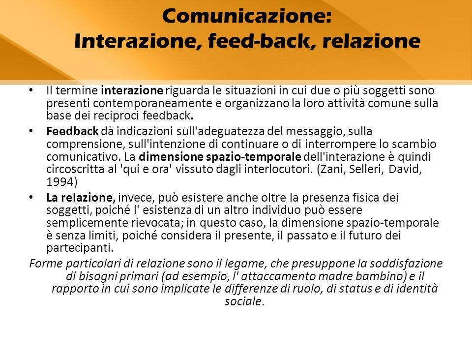 Il termine interazione riguarda le situazioni in cui due o più soggetti sono presenti contemporaneamente e organizzano la loro attività comune sulla base dei reciproci feedback.