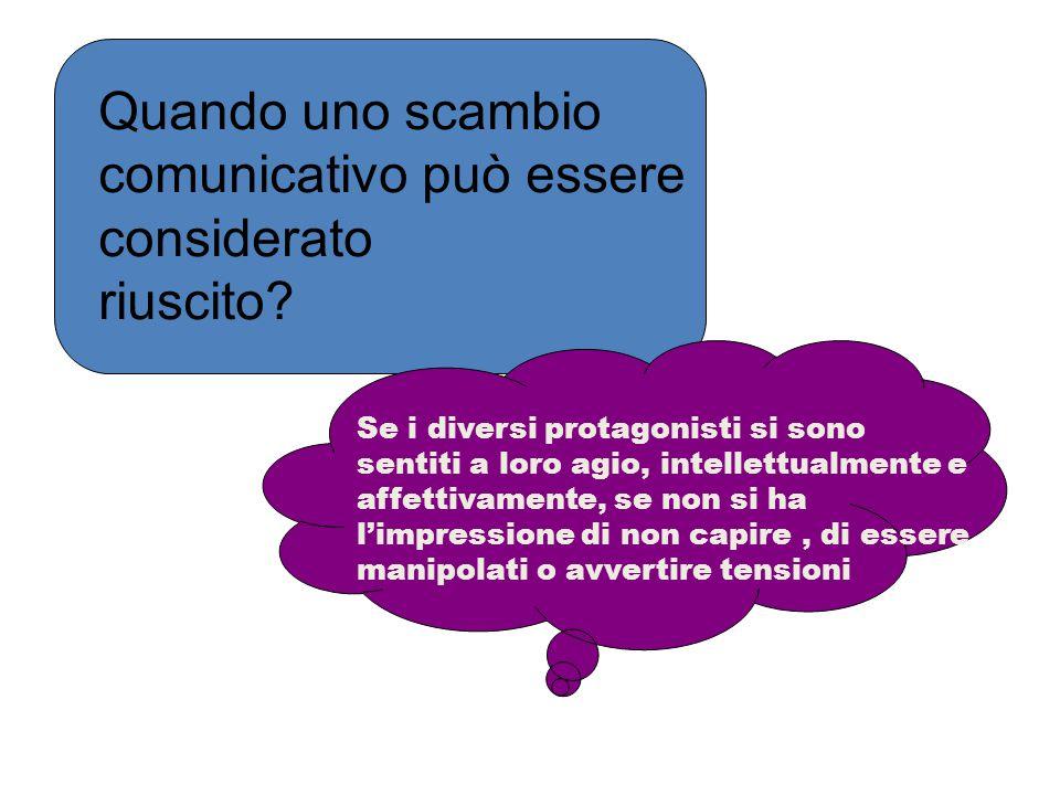 Quando uno scambio comunicativo può essere considerato riuscito? Se i diversi protagonisti si sono sentiti a loro agio, intellettualmente e affettivam