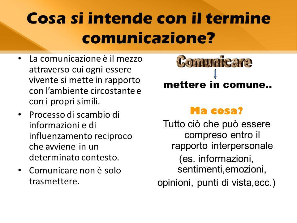 I fattori della comunicazione Emittente (chi produce il messaggio) Codice ( il sistema di riferimento in base al quale il messaggio viene prodotto) Messaggio ( l'informazione prodotta) Contesto ( in cui il messaggio è inserito) Canale (il mezzo fisico-ambientale che rende possibile la trasmissione) Ricevente (colui che riceve il messaggio)