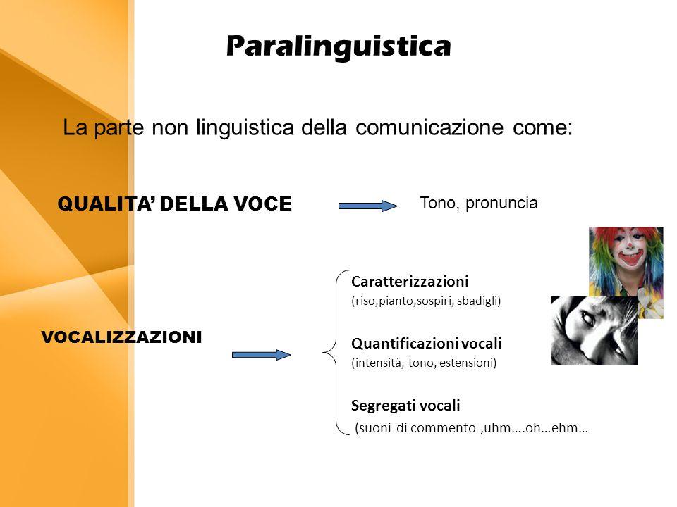 Paralinguistica VOCALIZZAZIONI Caratterizzazioni (riso,pianto,sospiri, sbadigli) Quantificazioni vocali (intensità, tono, estensioni) Segregati vocali (suoni di commento,uhm….oh…ehm… La parte non linguistica della comunicazione come: QUALITA' DELLA VOCE Tono, pronuncia