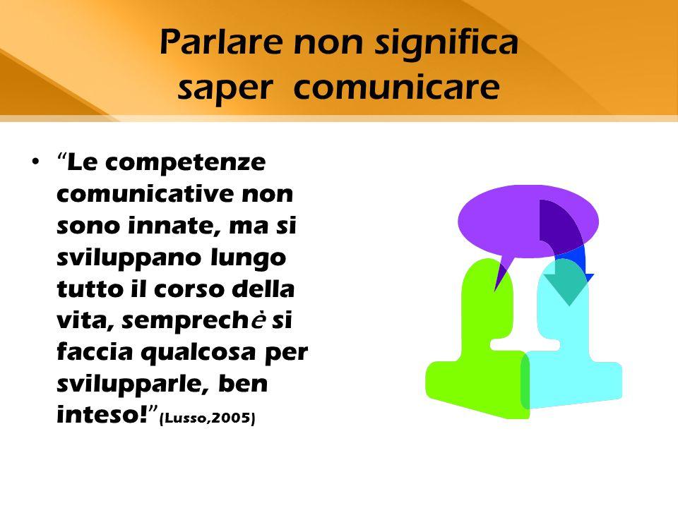 """Parlare non significa saper comunicare """" Le competenze comunicative non sono innate, ma si sviluppano lungo tutto il corso della vita, semprech è si f"""