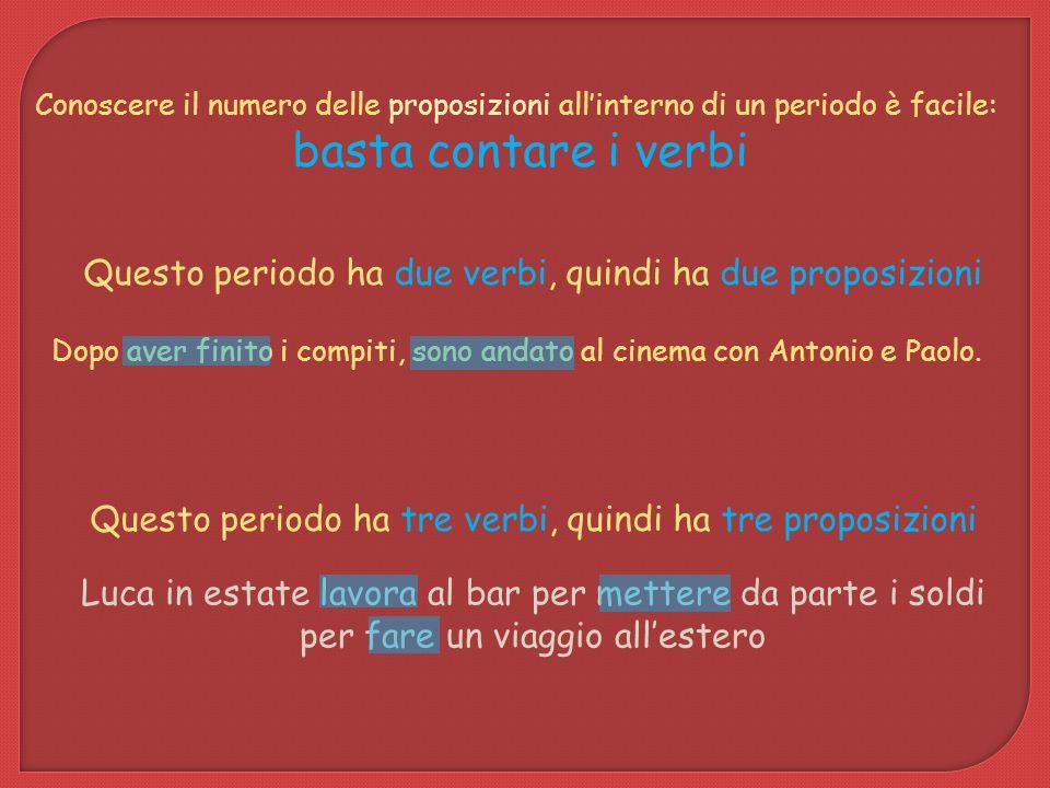 Conoscere il numero delle proposizioni all'interno di un periodo è facile: basta contare i verbi Dopo aver finito i compiti, sono andato al cinema con