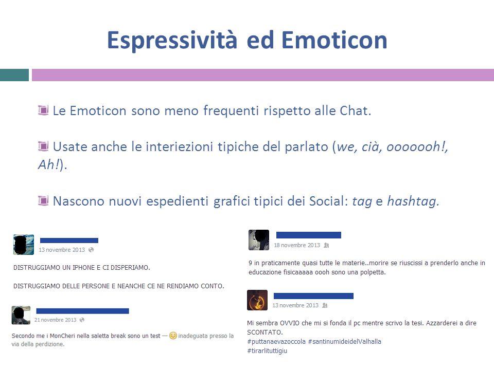 Espressività ed Emoticon Le Emoticon sono meno frequenti rispetto alle Chat.