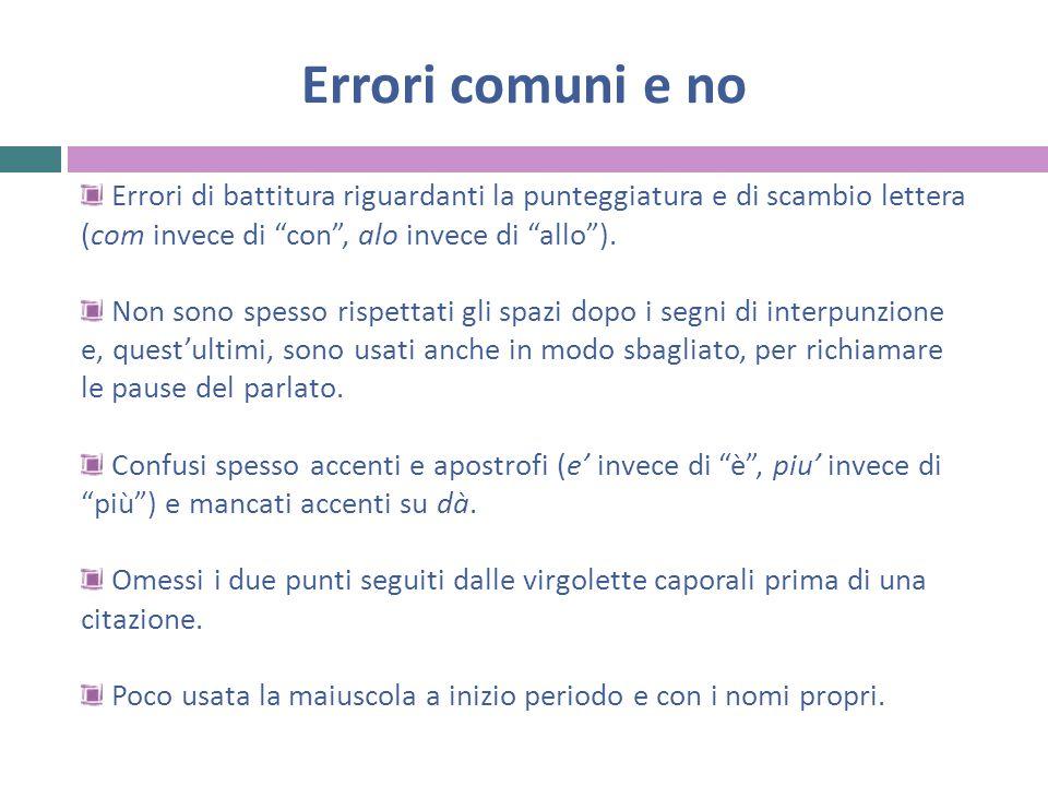 Errori comuni e no Errori di battitura riguardanti la punteggiatura e di scambio lettera (com invece di con , alo invece di allo ).
