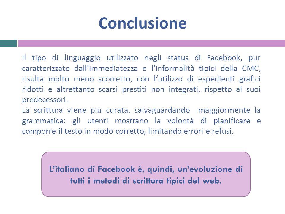 Conclusione Il tipo di linguaggio utilizzato negli status di Facebook, pur caratterizzato dall'immediatezza e l'informalità tipici della CMC, risulta molto meno scorretto, con l'utilizzo di espedienti grafici ridotti e altrettanto scarsi prestiti non integrati, rispetto ai suoi predecessori.