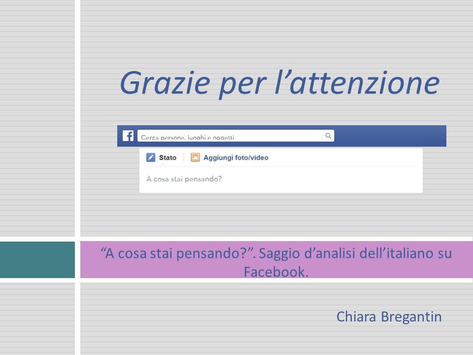 Grazie per l'attenzione A cosa stai pensando . Saggio d'analisi dell'italiano su Facebook.