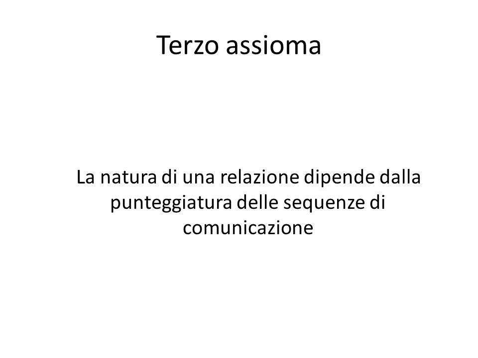 Terzo assioma La natura di una relazione dipende dalla punteggiatura delle sequenze di comunicazione
