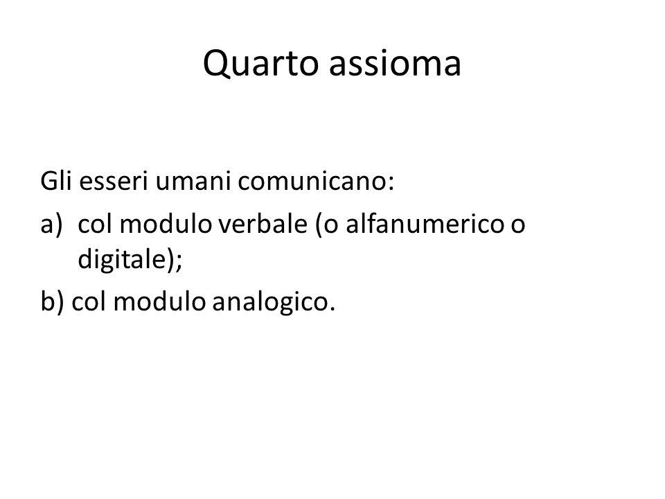 Quarto assioma Gli esseri umani comunicano: a)col modulo verbale (o alfanumerico o digitale); b) col modulo analogico.