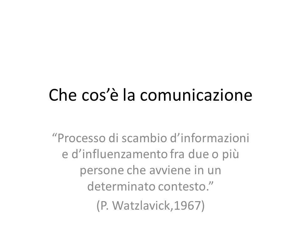 Che cos'è la comunicazione Processo di scambio d'informazioni e d'influenzamento fra due o più persone che avviene in un determinato contesto. (P.