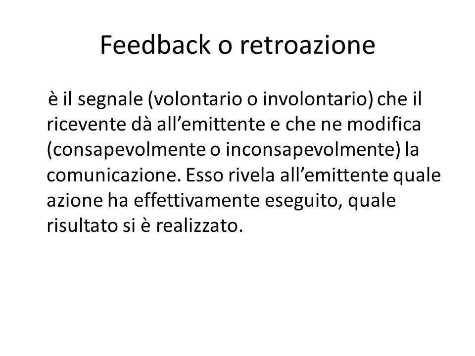 Feedback o retroazione è il segnale (volontario o involontario) che il ricevente dà all'emittente e che ne modifica (consapevolmente o inconsapevolmente) la comunicazione.