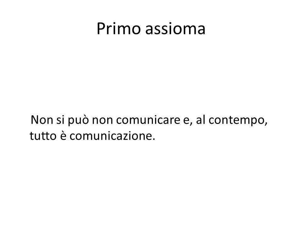 Primo assioma Non si può non comunicare e, al contempo, tutto è comunicazione.