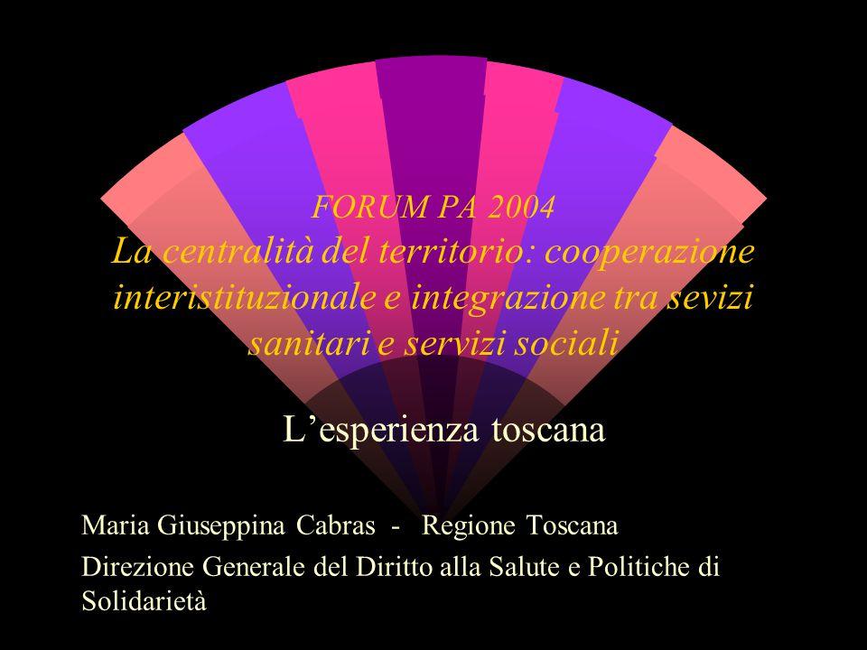 FORUM PA 2004 La centralità del territorio: cooperazione interistituzionale e integrazione tra sevizi sanitari e servizi sociali L'esperienza toscana
