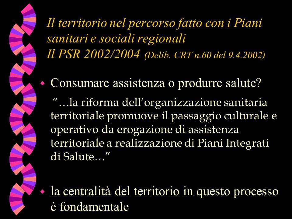Il territorio nel percorso fatto con i Piani sanitari e sociali regionali Il PSR 2002/2004 (Delib. CRT n.60 del 9.4.2002) w Consumare assistenza o pro