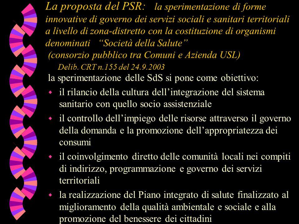 La proposta del PSR: la sperimentazione di forme innovative di governo dei servizi sociali e sanitari territoriali a livello di zona-distretto con la costituzione di organismi denominati Società della Salute (consorzio pubblico tra Comuni e Azienda USL) Delib.