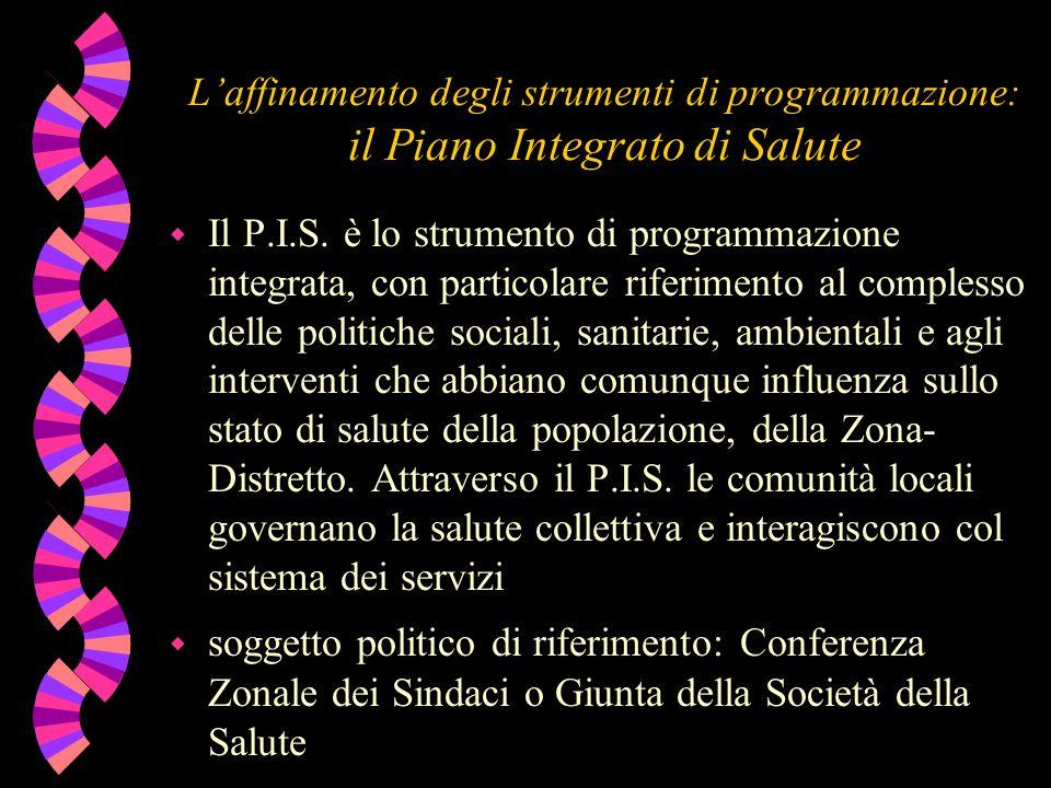 L'affinamento degli strumenti di programmazione: il Piano Integrato di Salute w Il P.I.S. è lo strumento di programmazione integrata, con particolare