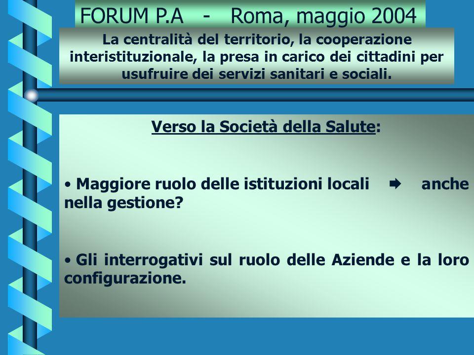 FORUM P.A - Roma, maggio 2004 Verso la Società della Salute: Maggiore ruolo delle istituzioni locali  anche nella gestione.