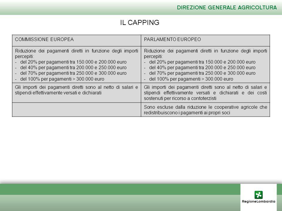 IL CAPPING COMMISSIONE EUROPEAPARLAMENTO EUROPEO Riduzione dei pagamenti diretti in funzione degli importi percepiti: -del 20% per pagamenti tra 150.000 e 200.000 euro -del 40% per pagamenti tra 200.000 e 250.000 euro -del 70% per pagamenti tra 250.000 e 300.000 euro -del 100% per pagamenti > 300.000 euro Riduzione dei pagamenti diretti in funzione degli importi percepiti: -del 20% per pagamenti tra 150.000 e 200.000 euro -del 40% per pagamenti tra 200.000 e 250.000 euro -del 70% per pagamenti tra 250.000 e 300.000 euro -del 100% per pagamenti > 300.000 euro Gli importi dei pagamenti diretti sono al netto di salari e stipendi effettivamente versati e dichiarati Gli importi dei pagamenti diretti sono al netto di salari e stipendi effettivamente versati e dichiarati e dei costi sostenuti per ricorso a contoterzisti Sono escluse dalla riduzione le cooperative agricole che redistribuiscono i pagamenti ai propri soci