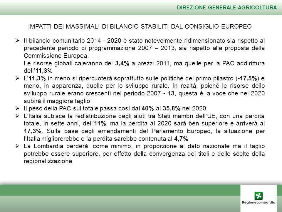 IMPATTI DEI MASSIMALI DI BILANCIO STABILITI DAL CONSIGLIO EUROPEO  Il bilancio comunitario 2014 - 2020 è stato notevolmente ridimensionato sia rispetto al precedente periodo di programmazione 2007 – 2013, sia rispetto alle proposte della Commissione Europea.