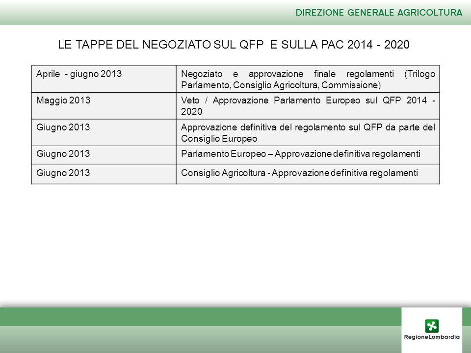 LE TAPPE DEL NEGOZIATO SUL QFP E SULLA PAC 2014 - 2020 Aprile - giugno 2013Negoziato e approvazione finale regolamenti (Trilogo Parlamento, Consiglio Agricoltura, Commissione) Maggio 2013Veto / Approvazione Parlamento Europeo sul QFP 2014 - 2020 Giugno 2013Approvazione definitiva del regolamento sul QFP da parte del Consiglio Europeo Giugno 2013Parlamento Europeo – Approvazione definitiva regolamenti Giugno 2013Consiglio Agricoltura - Approvazione definitiva regolamenti