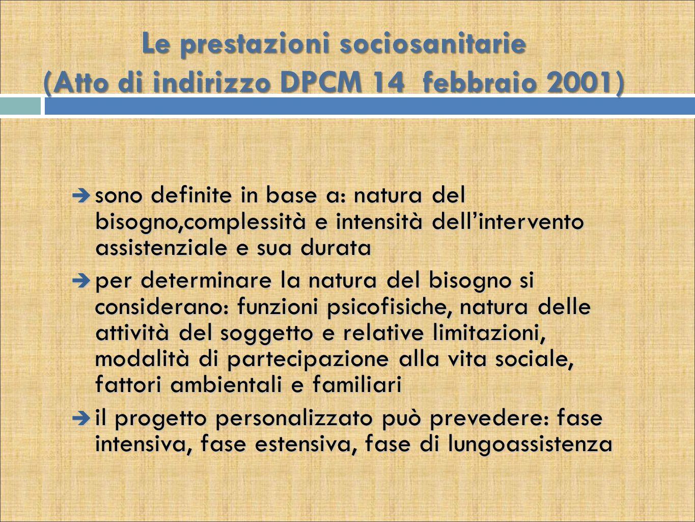 Le prestazioni sociosanitarie (Atto di indirizzo DPCM 14 febbraio 2001)  sono definite in base a: natura del bisogno,complessità e intensità dell'int