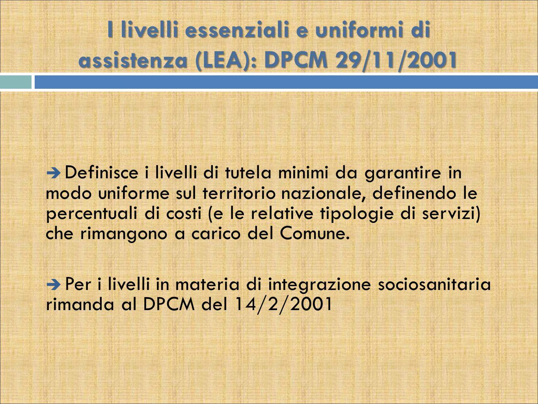 I livelli essenziali e uniformi di assistenza (LEA): DPCM 29/11/2001  Definisce i livelli di tutela minimi da garantire in modo uniforme sul territor